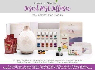 Young Living Premium Starter Kit   11 Essential Oils   Desert Mist Diffuser