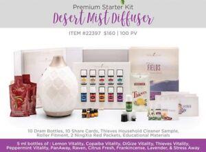 Young Living Premium Starter Kit - 11 Essential Oils & Desert Mist Diffuser