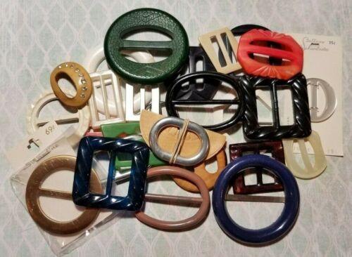 Vintage Assorted Belt Buckles - Scarf Slides - Lot of 26