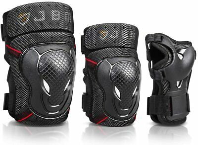 JBM BMX Bike Knee Pads and Elbow Pads with Wrist Guards Protective Gear Set L