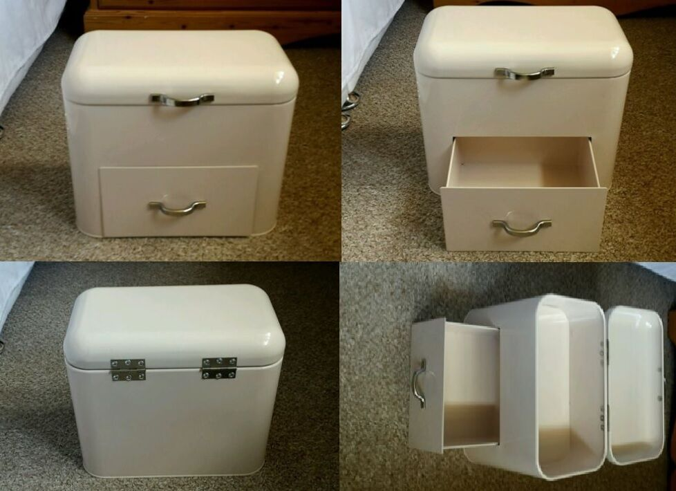 Next Metal Cream Bread Bin With Drawer Country Shabby Chic Style