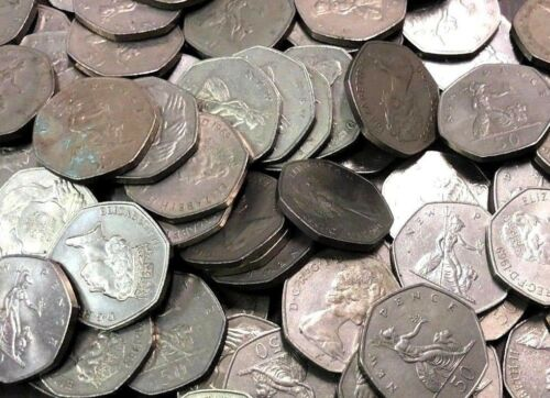 £25 Great British Pounds, 50 x UK vintage 50 Pence Coins (1969-1994 type)