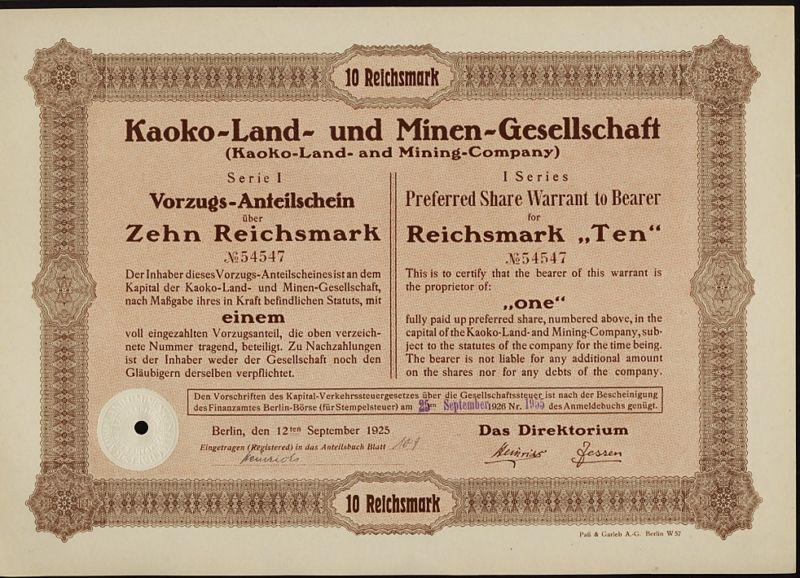 NAMIBIA Kaoko Land & Mining Company Berlin Germany 1925 old stock certificate