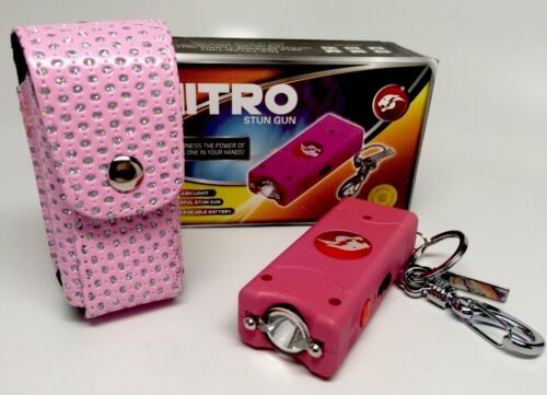 Cheetah Stun Gun HIGH POWERED Rechargeable W/ LED Light Bling Leather case P