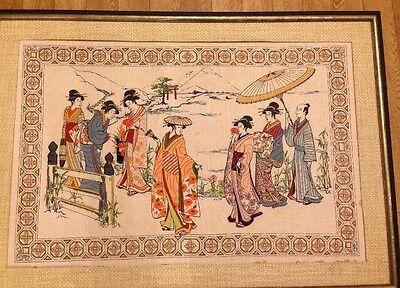Japanese Crewel Work Asian Needlework Geisha Girl / Man  Oriental Art Vintage.