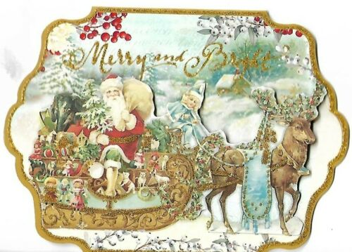 "PUNCH STUDIO Christmas Card - approx 5 x 4"" - Santa Sleigh Gold Glitter 3D"