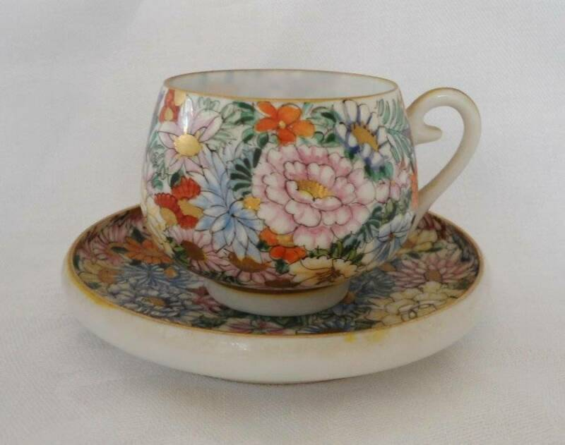 Satsuma Signed Dozan Cup Saucer Thousand Flower Kyoto Japan Gold Gilt HP Vintage