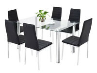 Brand new tempered glass dining table and 6 chairs