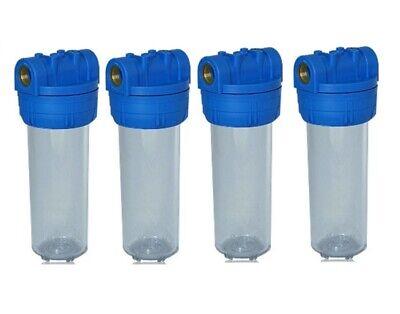 """Aktivkohle Wasser Filtergehäuse 10/"""" 3-teilig 1/"""" IG Messing Vorfilter Brunnen"""