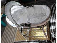 Clair de Lune Stars and Stripes Grey Wicker Moses Basket and stand