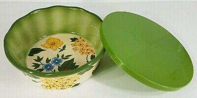 Temp-tations by Tara floral blossom 1.5 quart round baking dish with green lid