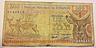 ===>>>1978 Rwanda Banque Nationale 500 Francs Note Rare <====