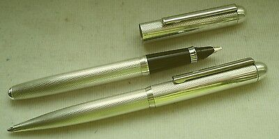 """STERLING SILVER 925  FOUNTAIN PEN and BALLPEN GERMAN MADE """" BULL and BEAR """""""