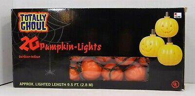 Halloween 20 Jack O Lantern Pumpkin String Light Set New Totally Ghoul Blow Mold