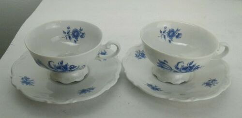 2 Sets of Darling  MITTERTEICH BAVARIA MEISSEN BLUE FLORAL Tea Cups Saucers EUC