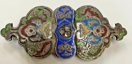 Antique Russian silver sterling enamel cloisonne buckel with rough cut diamonds