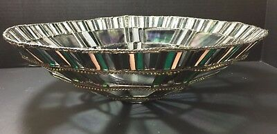Large Handmade Iridescent Mosaic Art Glass Multi Color Leaded Stained Glass Bowl