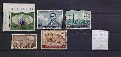 ! San Marino 1950-1960. Air Mail Stamp. YT#73B, 116, 118, 119, 125. €56.00!