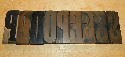 Large 5 Antique Wood Letterpress Print Type Block Letter Set - 9 Pieces