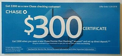 One Chase  300 Banking Offer 1 X  300 Premier Checking W Direct Deposit 4 22 18