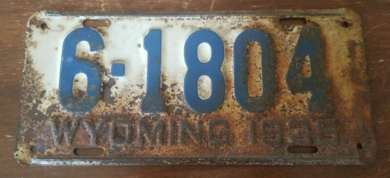 Antique 1935 WYOMING License Plate - Carbon County 6-1804, original