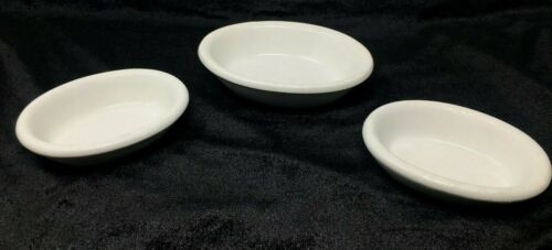 Antique White Chunky Ironstone Oval Butter Pats Soap Dishes Farmhouse