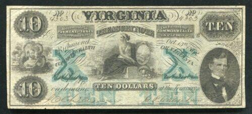 "1862 $10 VIRGINIA TREASURY NOTE RICHMOND, VA OBSOLETE ""INVERTED FIVE WATERMARK"""