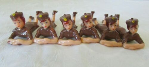 """Vtg Lot of 6  Girl Scout Brownie 3"""" PARRISH"""
