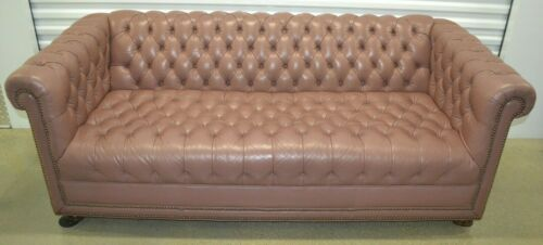 Ethan Allen Leather Chesterfield Sofa Tufted Nailhead Mauve #20-7133 circa1980
