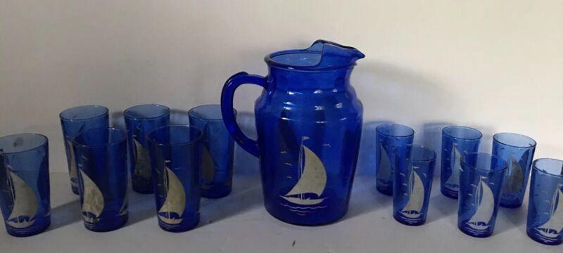 Vintage Cobalt Blue Depression Glass Sailboat Pitcher Tumbler Juice Glasses Set