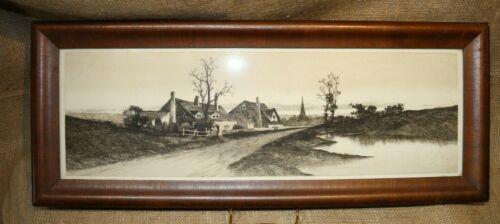 Original Framed Country Cottage Etching by E.C. Rost - Fishel Adler & Schwartz