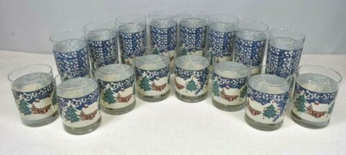 TIENSHAN Folk Craft CABIN IN THE SNOW TREES Choice of 8 12oz &/or 8 16oz Glasses
