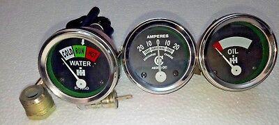 Temperature Amp Oil Gauge Set For Farmall Ih H Mw4-9 T6 Ihc 1939 - 1946