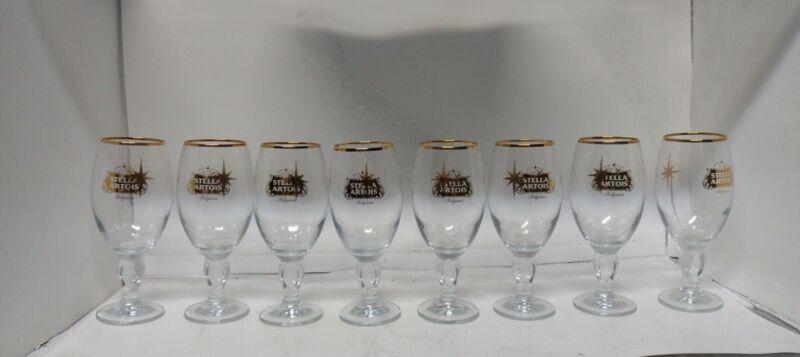 Set Of Eight Stella Artois Stemmed Beer Glasses