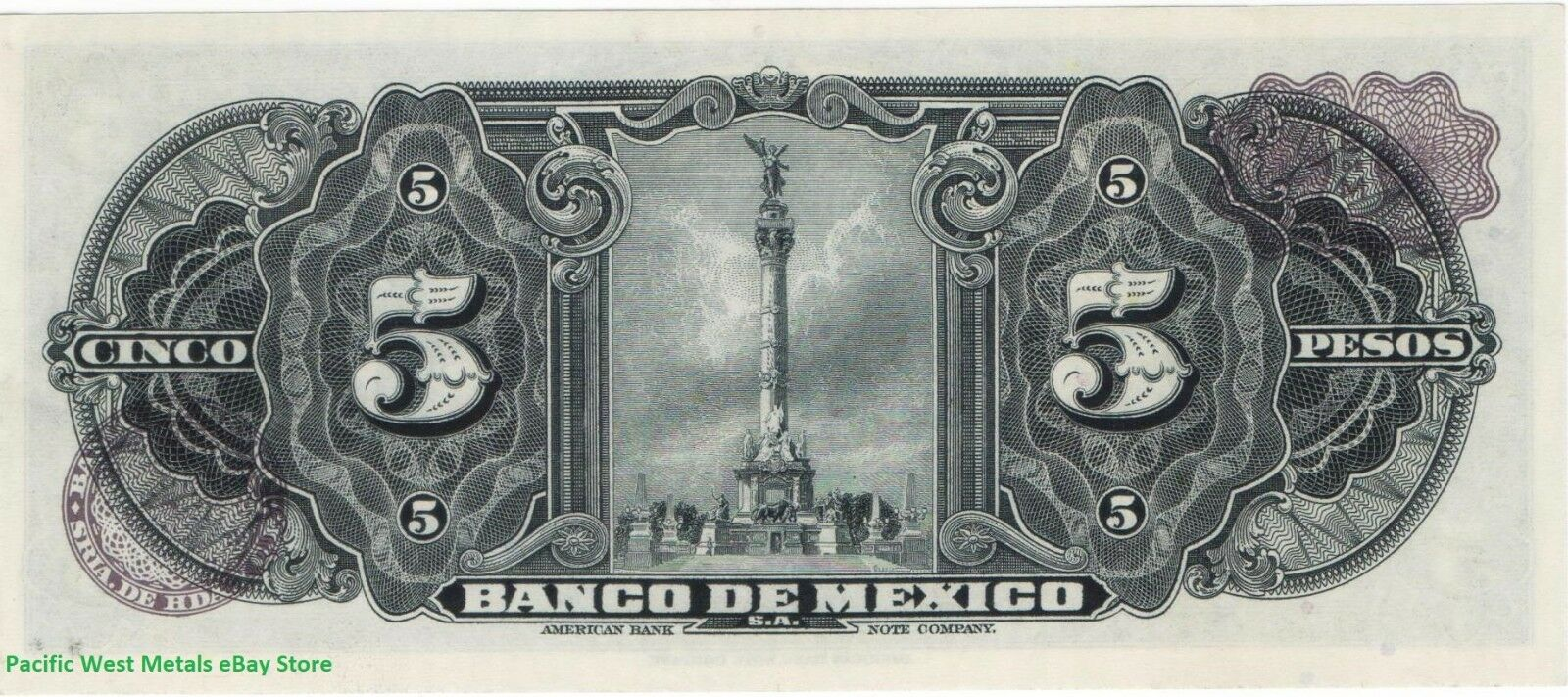 1969 Mexico 5 Pesos GYPSY UNC Mexican banknotes Billete Cinco Sin Circular CRISP