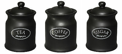 Tuftop Company Ascot Black Tea Coffee & Sugar Storage Canisters Jars Ceramic New