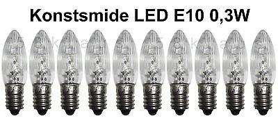 10 LED Riffelkerzen E10 14-55V 0,3W 14V 16V 23V 34V 46V 48V 55V Topkerzen Bogen