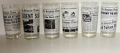 6 Vintage NOS Scranton, PA  News Paper Drinking Glasses:WWII,Kennedy, Moon Landi