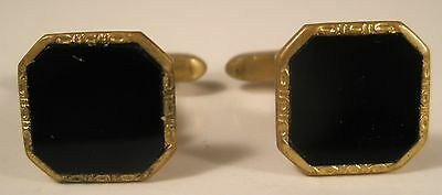 Hickok Gold Tone & Black Stone Vintage Cuff Links gift