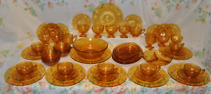 Rare 56 Pce. Indiana, Amber Glass, Dinner, Serving & Tea Cup Set