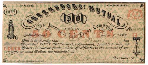 NC Civil War Greensboro Mutual 50 Cents UNC