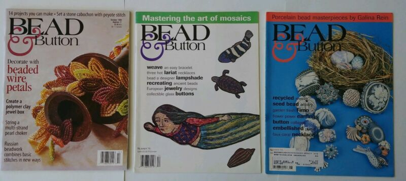 Bead & Button Magazine lot of 9 issues 1996, 1997 &1998