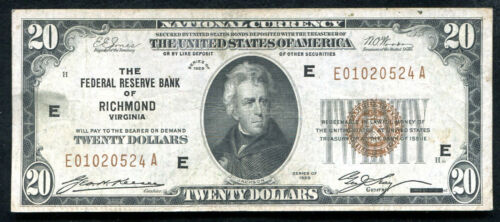 FR. 1870-E 1929 $20 FRBN FEDERAL RESERVE BANK NOTE RICHMOND, VA VF+ (I)