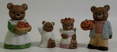 Homco Halloween Teddy Bear Trick or Treat Set # 5209 Pumpkins Ghost Ceramic