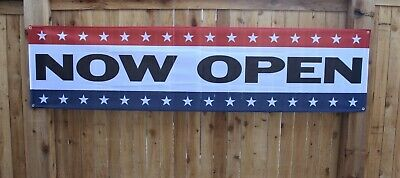 New Now Open Banner Sign 2x8 Feet Store Restaurant Re-opening Outdoor Vinyl Mesh