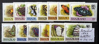 SWAZILAND 1987 Butterflies Complete U/M As Described DL812