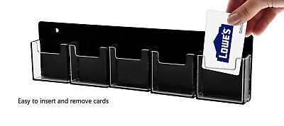 Business Card Holder 5 Pocket Wall Mount Vertical Clear And Black Qty 2
