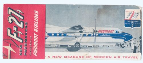 Vtg.1950s Piedmont Airlines - Fairchild Pacemaker F-27 Rolls Royce Specification