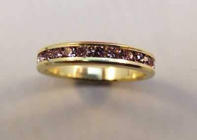 SIZE 6 3MM 14KT GOLD EP STACKABLE JUNE LIGHT AMETHYST WEDDING ETERNITY RING