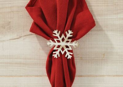 Snowflake Napkin Rings (Snowflake Napkin Ring Christmas Holiday Distressed White Kitchen Dining Set)